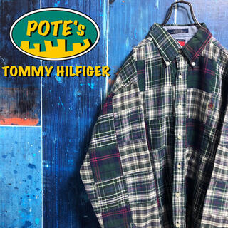 TOMMY HILFIGER - 【トミーヒルフィガー】ワンポイント刺繍ロゴチェック柄パッチワークシャツ 90s