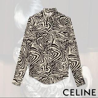 celine - CELINE ゼブラプリントレーヨン スキニーウエスタンシャツ