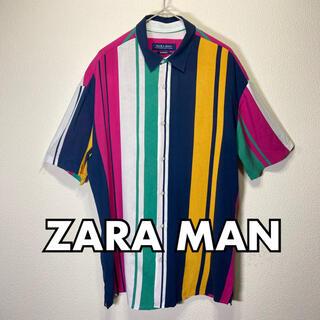 ZARA - ZARA MAN マルチカラー 派手シャツ RELAXED FIT Sサイズ