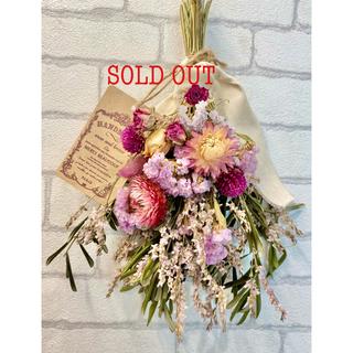 ドライフラワー スワッグ❁53 ローズ 薔薇 ヘリクリサム 白 ピンク 花束♪(ドライフラワー)