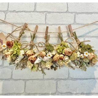 ドライフラワー スワッグ ガーランド❁319ナチュラル薔薇 アイボリー白 花束(ドライフラワー)
