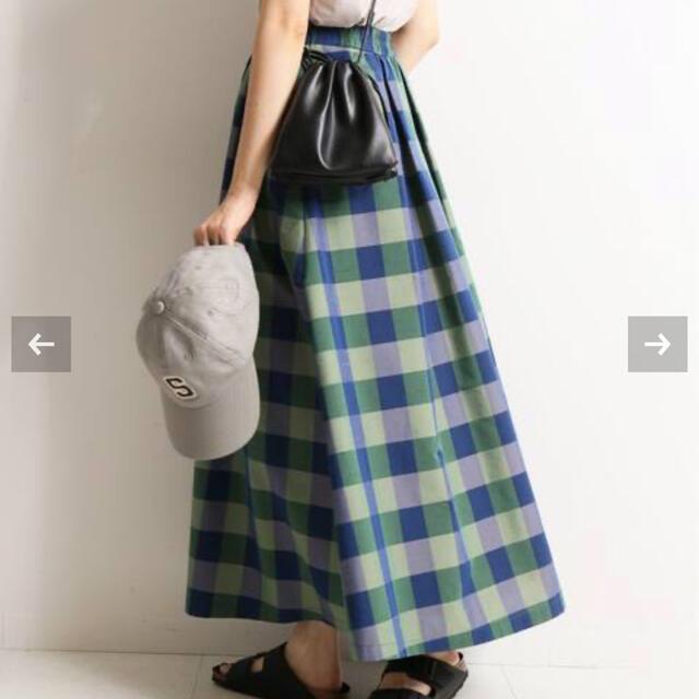 IENA SLOBE(イエナスローブ)のSLOBE IENA ギンガムチェックタフタランダムタックスカート◆ レディースのスカート(ロングスカート)の商品写真