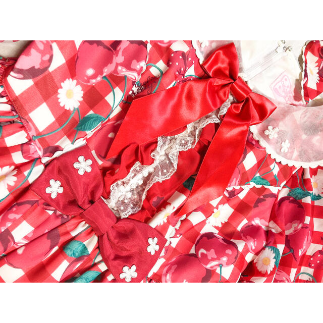 Angelic Pretty(アンジェリックプリティー)のangelic pretty/Fresh cherryワンピース+バレッタセット レディースのワンピース(ひざ丈ワンピース)の商品写真