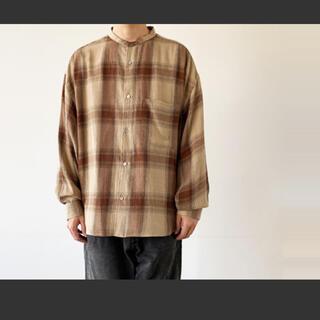Check Band Collar Big Sleeve Shirt