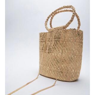 ZARA - zara メタリックウーブントートバッグ 新品未使用 かごバッグ