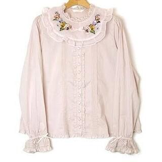 PINK HOUSE - パンジー刺繍のお衿付きブラウス