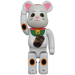 メディコムトイ(MEDICOM TOY)のBE@RBRICK 招き猫 白メッキ 発光 400% 2体セット ベアブリック(その他)