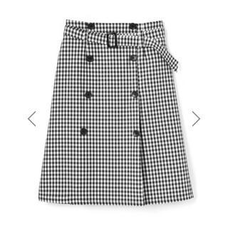 グレイル(GRL)のGRL ベルト付ギンガムチェックトレンチデザインスカート 黒 人気 量産型 春夏(ひざ丈スカート)
