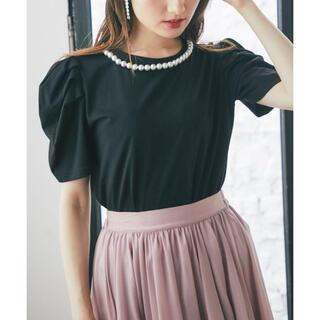 tocco - tocco closet パール装飾パワーショルダーTシャツ