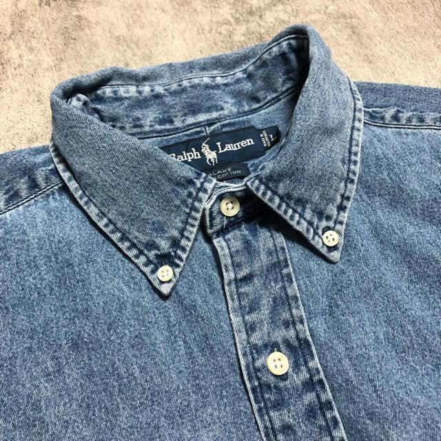 Ralph Lauren(ラルフローレン)の【ゆ様専用】ラルフローレン☆ワンポイント刺繍ロゴデニムシャツ 90s メンズのトップス(シャツ)の商品写真
