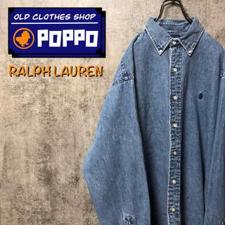 Ralph Lauren - ラルフローレン☆ワンポイント刺繍ロゴデニムシャツ 90s