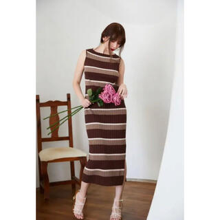 herlipto cotton striped ribbed knitdress