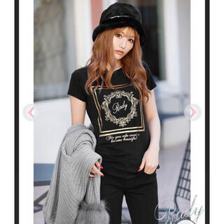 Rady - rady ホテルシリーズ Tシャツ ブラック×ゴールド