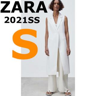ZARA - 【ZARA】S クロスオーバーフロントロングベスト ボタン留め ロング丈 ジレ