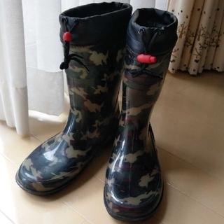 ジュニア ワイルドツリー レインブーツ 長靴 カモフラ 迷彩 紐付き  24㎝