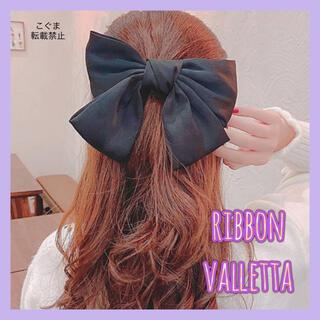 爆売れ中♥ リボンバレッタ クリップ ヘアアクセ 髪留め 韓国 ブラック