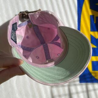 ポロラルフローレン(POLO RALPH LAUREN)のPolo キャップ 珍しい 薄 ピンク × 黄緑 薄 グリーン ヴィンテージ(キャップ)