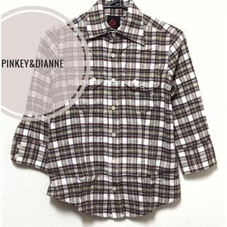 Pinky&Dianne - PINKY&DIANNE【美品】チェック柄 五分袖 襟シャツ ブラウス