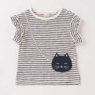 petit main - 【接触冷感】猫ポシェットフリル袖Tシャツ