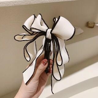 大人気★韓国風 大きいリボン バナナクリップ ヘアクリップ 髪飾り ホワイト