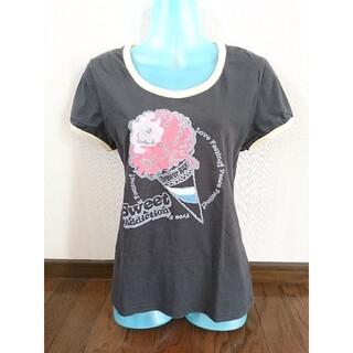 ディックブリューワー(Dick Brewer)のPOPなアイスクリーム リンガーTシャツ スミ黒×黄 M Dick Brewer(Tシャツ(半袖/袖なし))