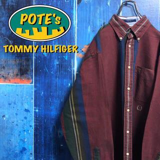 TOMMY HILFIGER - 【トミーヒルフィガー】オールド刺繍ロゴレトロマルチストライプシャツ 90s
