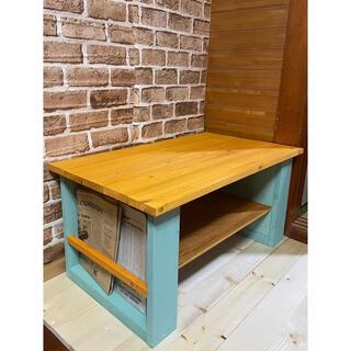 ローテーブル  アンティーク風 センターテーブル お洒落家具 本棚付き カフェ風