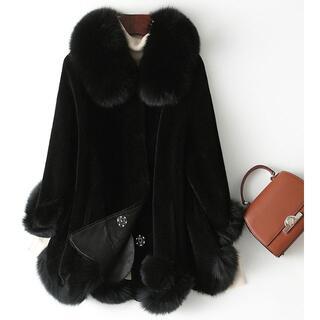 新品限定★最高級★フォックスファー襟など付き羊毛コート黒 毛皮、ファー