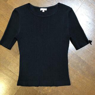 トッカ(TOCCA)のTOCCA ブラック リブニット(カットソー(半袖/袖なし))