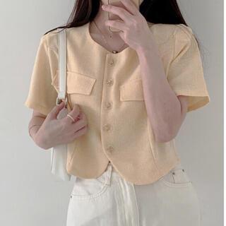 スタイルナンダ(STYLENANDA)の【予約商品】《3カラー》ノーカラー ジャケット 韓国ファッション(ノーカラージャケット)