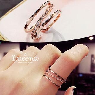 新品 ゴールド ダイアモンド斜め並び 流行韓国の芸能人リング