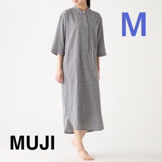 ムジルシリョウヒン(MUJI (無印良品))の無印良品 インド綿薄手ガーゼ七分袖クルタ チャコールグレーチェック M(パジャマ)