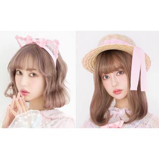 Angelic Pretty - Freur Cat KC & Airy チュールストローHat & リボンタイ