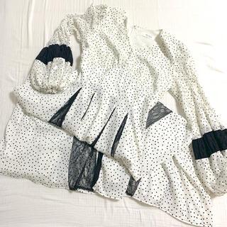 FRAY I.D - Lace-trimmed Pin Dot Dress