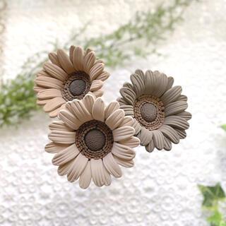 ガーベラ クレイフラワー ブラウン 3本セット 造花(その他)