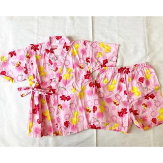 ニシマツヤ(西松屋)の美品 子供服 浴衣 100 女の子 ピンク 金魚 ヨーヨー 甚平(甚平/浴衣)