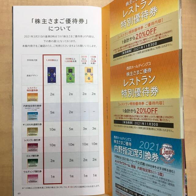 西武ホールディングス株主優待 冊子 チケットの優待券/割引券(その他)の商品写真
