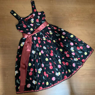 metamorphose temps de fille - floating heart cherry リボンジャンパースカート黒