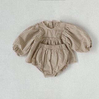 80cm ギンガムチェック 韓国子供服 ベビーブルマ ブラウス 出産祝い