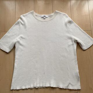 UNIQLO - UNIQLO  UVカットリブクルーネックセーター5分袖