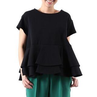 ドゥロワー(Drawer)のyori ダブルフレアカットソー 黒(カットソー(半袖/袖なし))