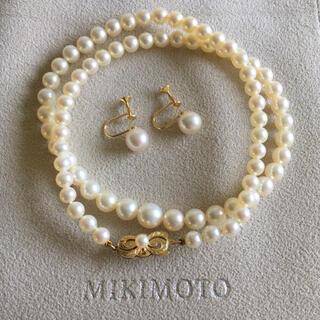 ミキモト(MIKIMOTO)の希少 ミキモト YG K14 パールネックレス イヤリング K18 セット 箱(ネックレス)