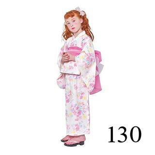 mezzo piano - 【新品】メゾピアノ 浴衣 花 130 白 ピンク