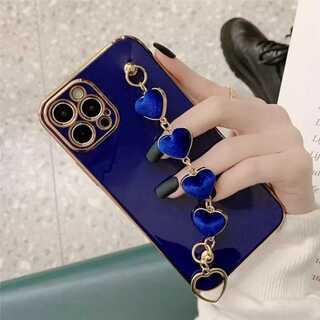 ブルー iPhone12miniケース ハートチェーン スマホカバー ネイビー青
