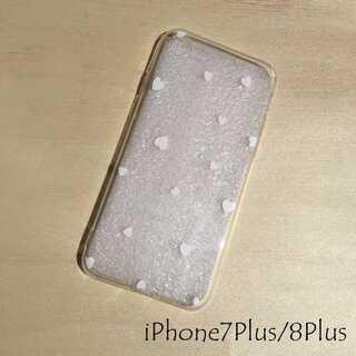 ドット柄 iPhone ケース カバー ホワイトハート 7Plus/8Plus