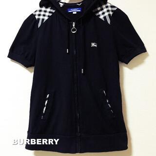 BURBERRY BLUE LABEL - 【BURBERRY】ブラックノバチェック ジップアップ 半袖 パーカー