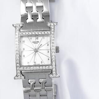 エルメス(Hermes)の【仕上済】エルメス Hウォッチ シルバー ブレス ダイヤ レディース 腕時計(腕時計)