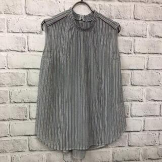 ナノユニバース(nano・universe)の8680 ナノユニバース リップルストライプブラウス ノースリーブ(Tシャツ(半袖/袖なし))