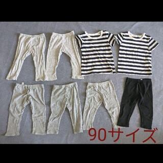 ムジルシリョウヒン(MUJI (無印良品))の8枚セット 90 無印良品 ボーダー  T シャツ 西松屋 綿100% スパッツ(Tシャツ/カットソー)