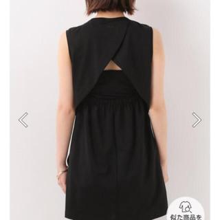 イエナスローブ(IENA SLOBE)のIHNN BACK OPEN NOSLEEVE バックオープン ブラック(Tシャツ(半袖/袖なし))